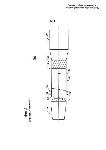 Газовая турбина (варианты) и опорное устройство жаровой трубы