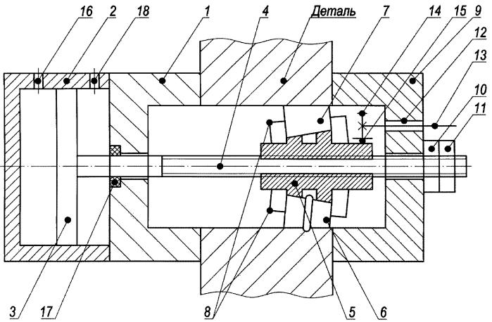 Устройство для деформационного упрочнения внутренней поверхности сквозных отверстий