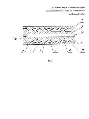 Двухканальная экструзионная головка для изготовления полимерной облицовочной профильной рейки