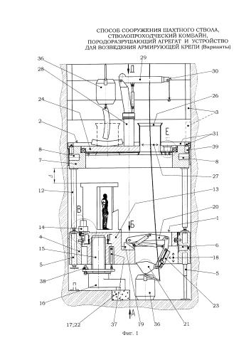Способ сооружения шахтного ствола, стволопроходческий комбайн, породоразрушающий агрегат и устройство для возведения армирующей крепи (варианты)