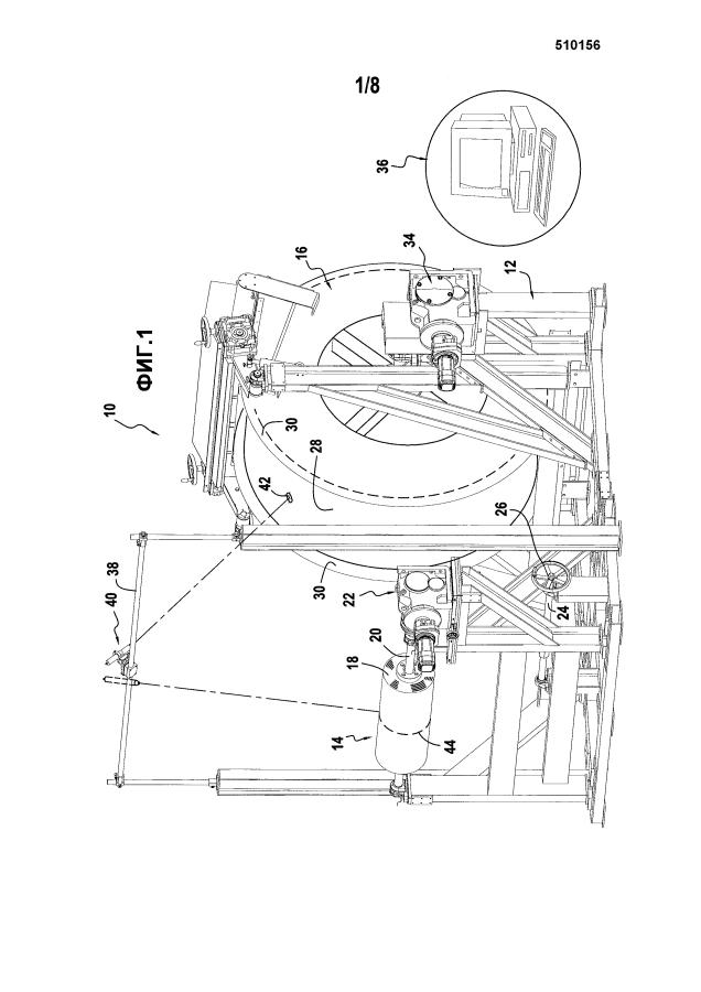Машина для намотки волокнистой структуры на пропитывающую оправку и использование такой машины для изготовления кожуха газовой турбины из композитного материала