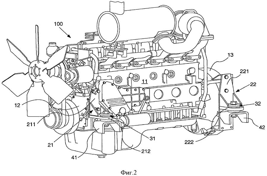 Устройство для крепления двигателя и машина, оборудованная таким устройством