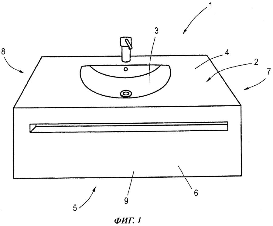 Санитарно-техническое устройство, содержащее умывальник и опорный мебельный элемент