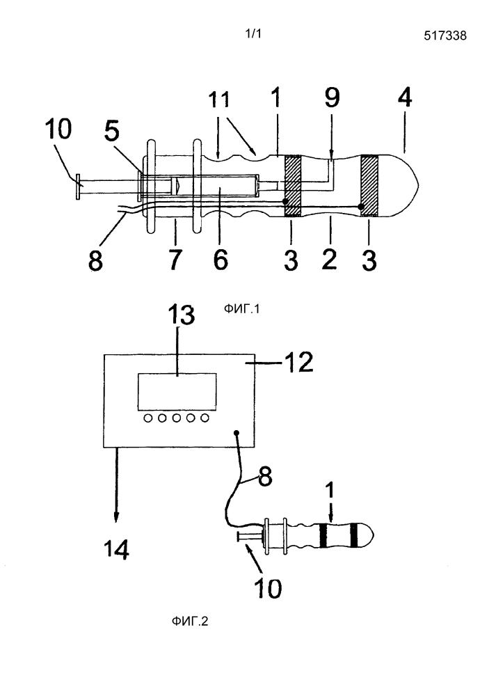 Прибор электропорации, содержащий продолговатый аппликатор, кольцевые электроды и гнездо для шприца