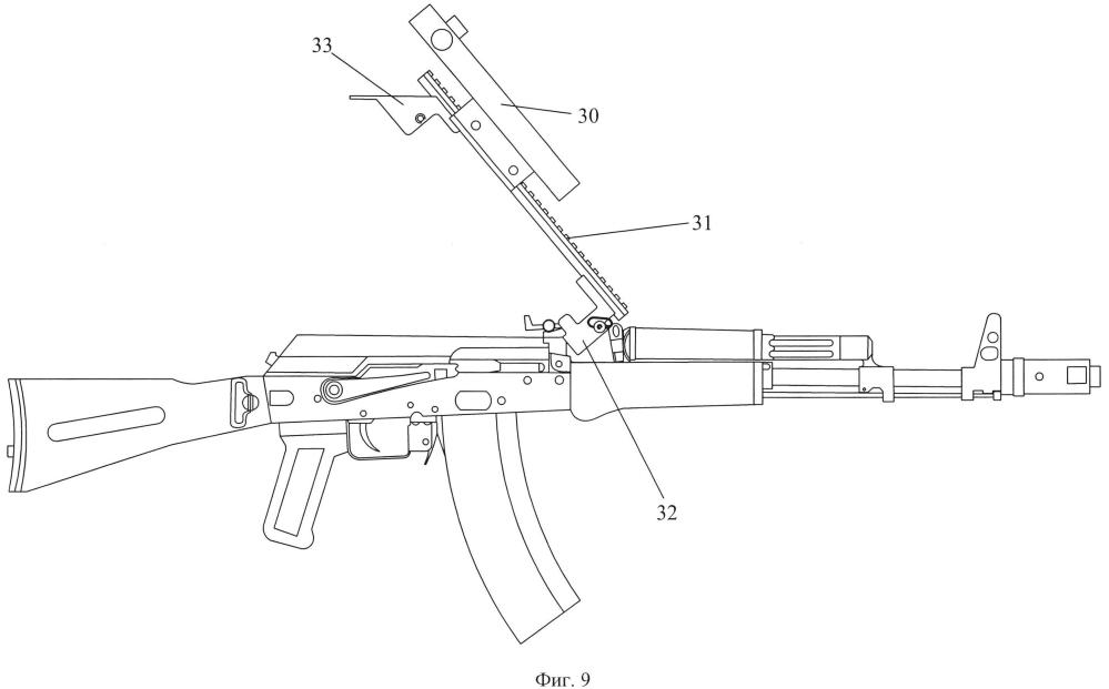 Быстросъёмный кронштейн для крепления дополнительных устройств на автоматы и ручные пулемёты калашникова (варианты)