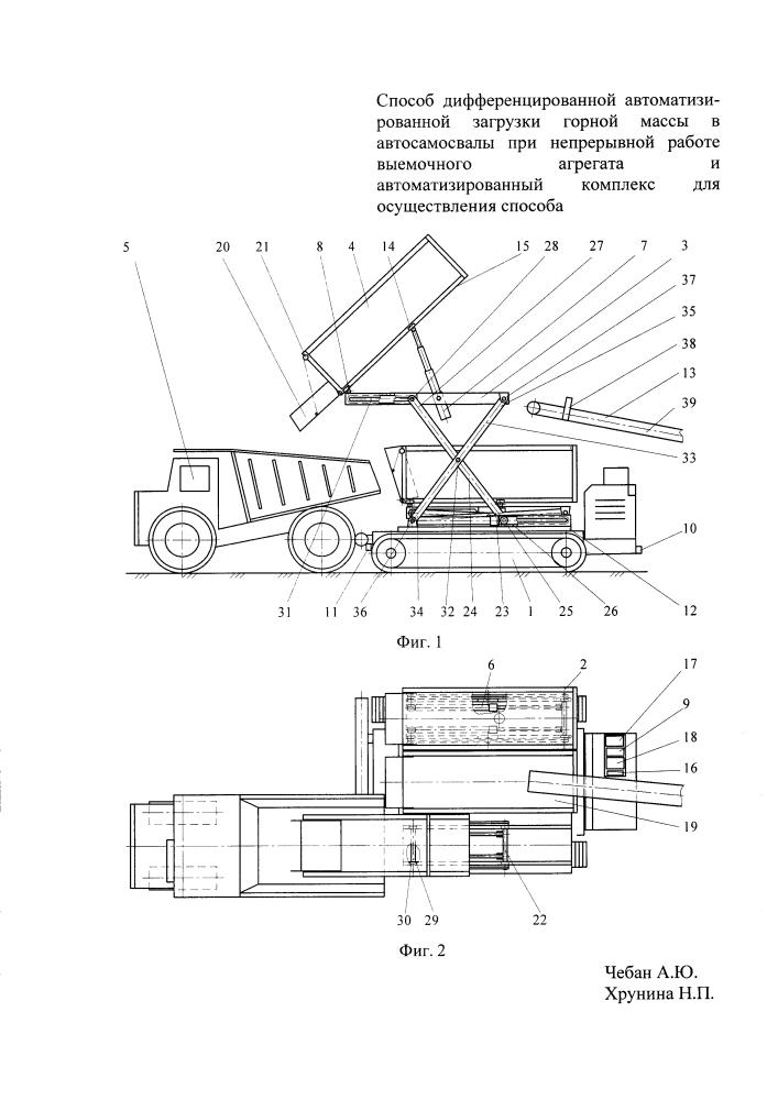 Способ дифференцированной автоматизированной загрузки горной массы в автосамосвалы при непрерывной работе выемочного агрегата и автоматизированный комплекс для осуществления способа