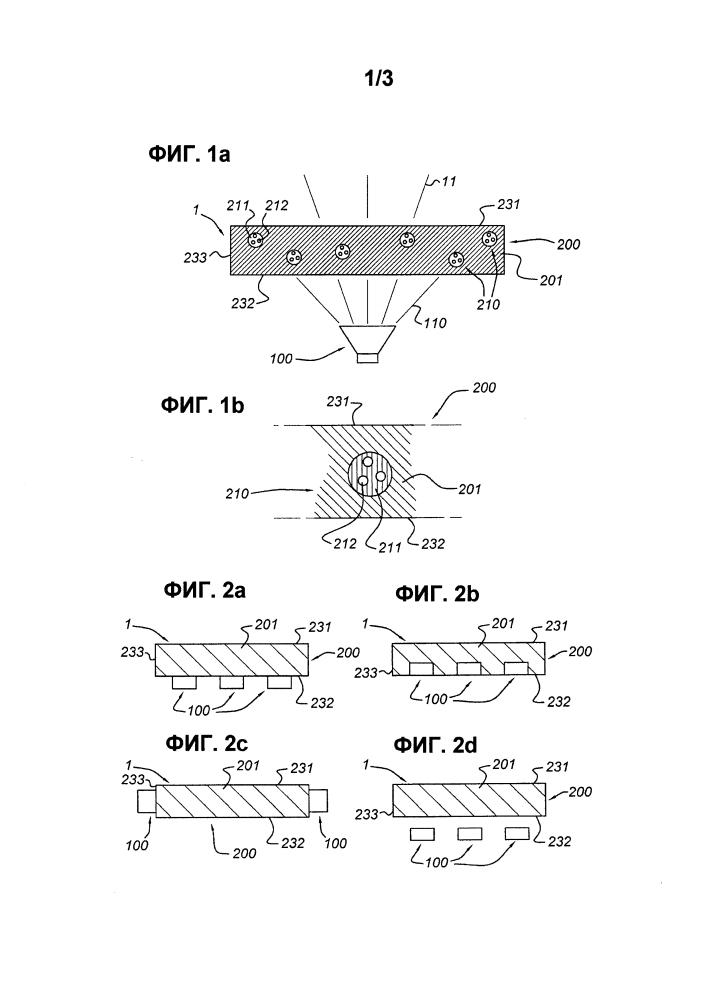 Осветительное устройство с полимерсодержащими матрицами