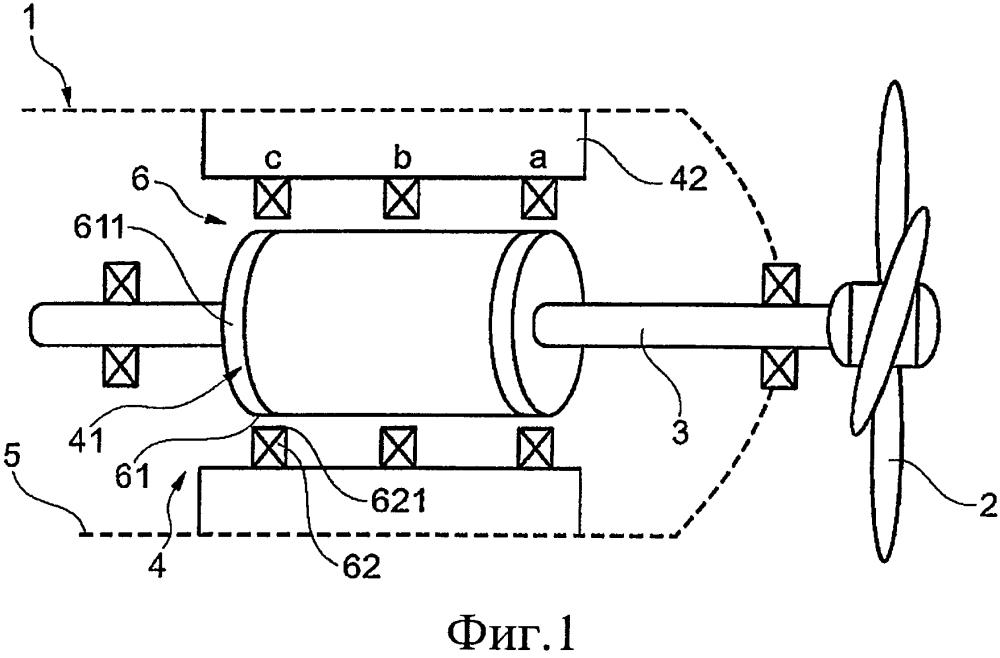 Способ и устройство для защиты расположенного в обтекателе двигателя от изгиба вала при ударах