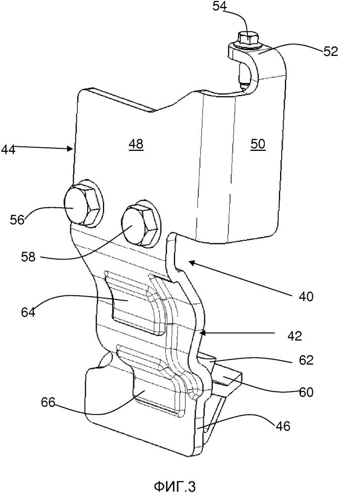 Устройство защиты двигателя автотранспортного средства в случае лобового столкновения