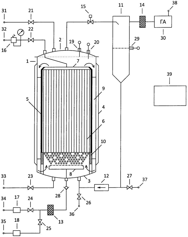 Биореактор с мембранным устройством газового питания микроорганизмов