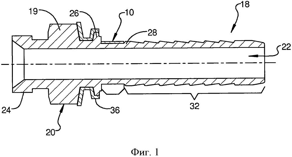 Соединитель трубопроводов с режущим фиксатором шланга
