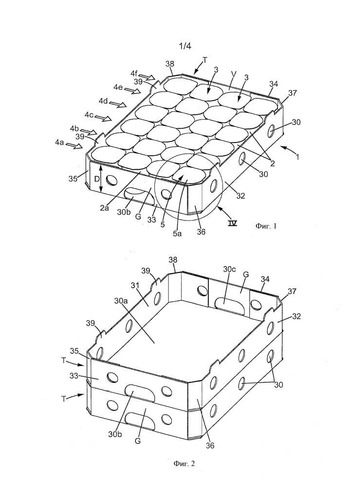 Упаковка, включающая в себя лоток, который содержит группу контейнеров с кромками