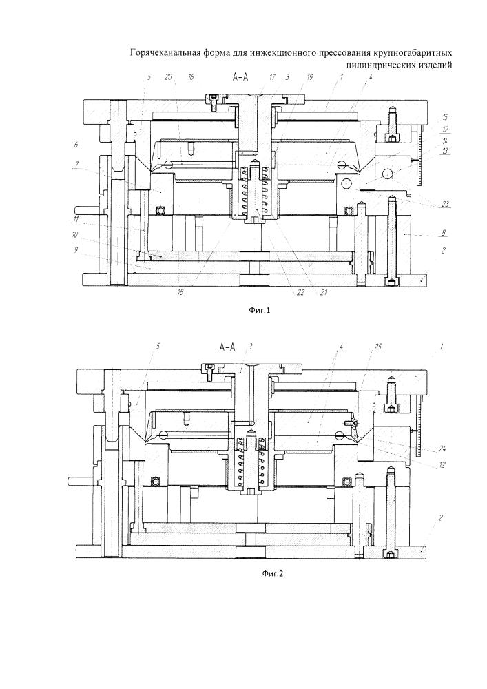 Горячеканальная форма для инжекционного прессования крупногабаритных цилиндрических изделий