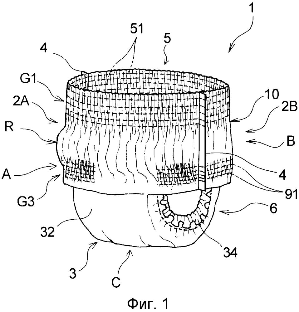 Поглощающее изделие натягиваемого типа и держатель прокладки