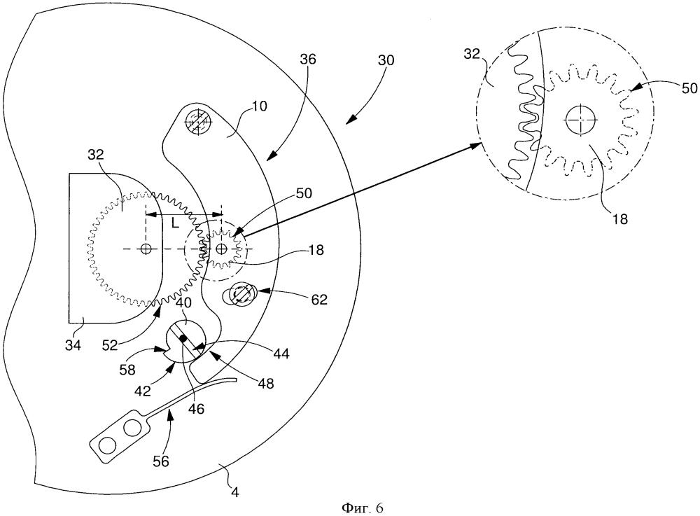 Механизм часов, содержащий модуль, в котором установлен набор колес, входящий в зацепление с другим набором колес, шарнирно установленным на основании, на котором установлен данный модуль