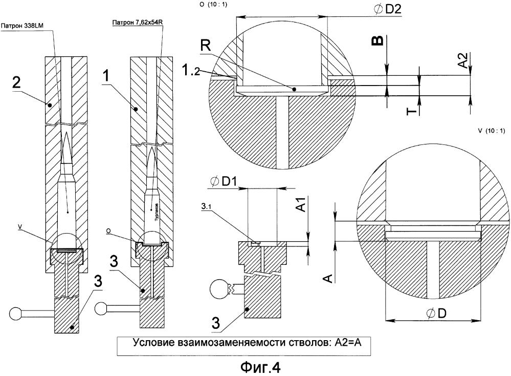 Казённая часть ствола для гильзы с выступающим фланцем
