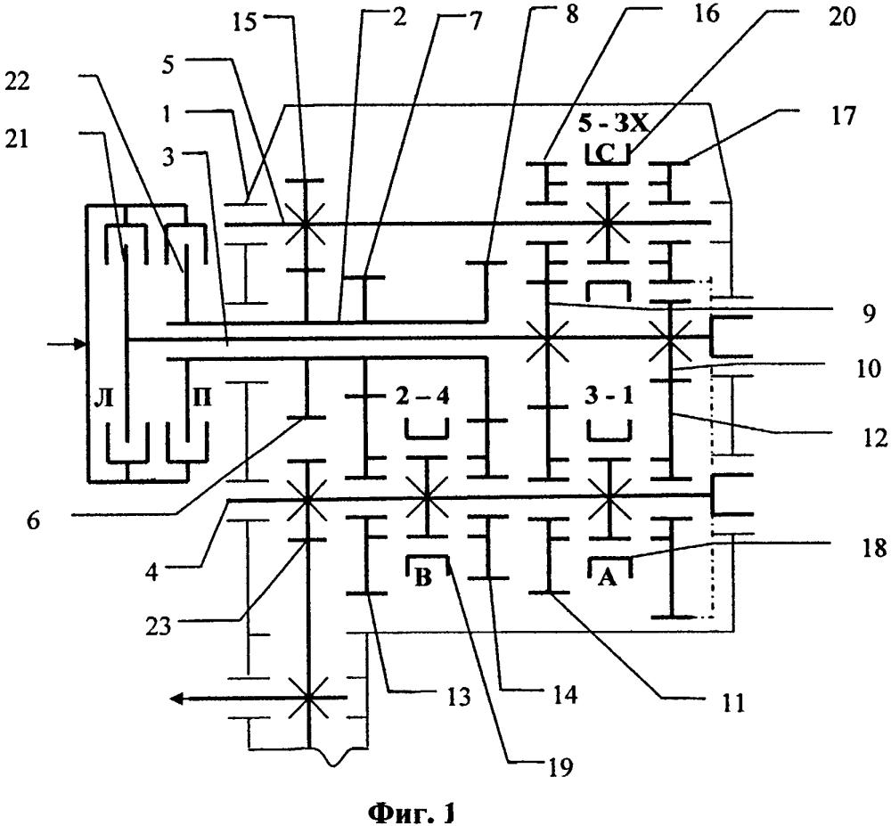 Способ получения вариантов конструкций несоосной и универсальной коробки передач с двумя сцеплениями