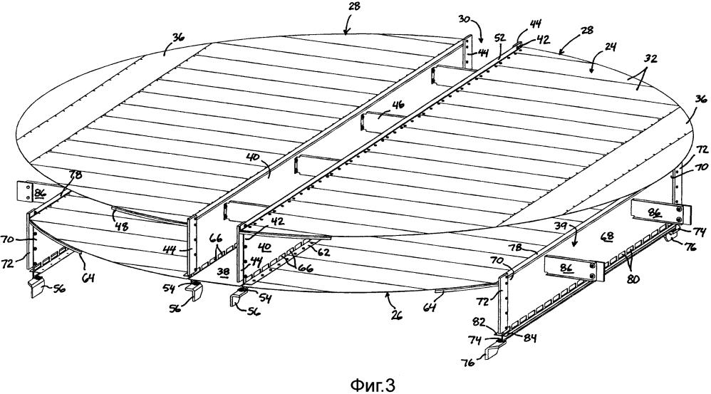 Использование балки сливного кармана для поддержки соседних тарелок с поперечным течением в массообменных колоннах и способ, относящийся к ним
