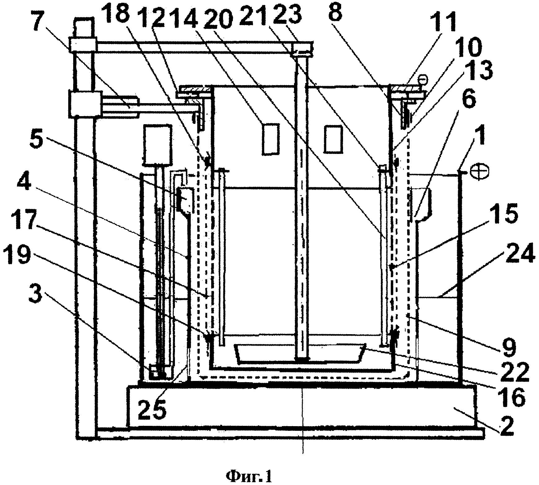 Электролизер для экстракции индия из расплавленных сплавов
