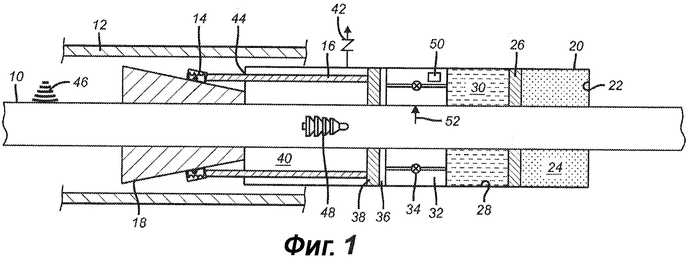 Посадочный инструмент, приводимый в действие с помощью потенциальной энергии и установленный в межтрубном пространстве