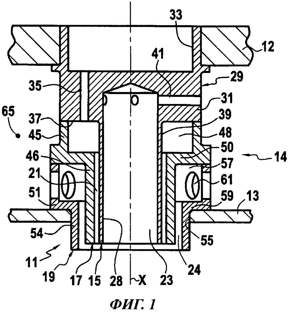 Инжектор для смешивания двух компонентов топлива, содержащий по меньшей мере инжекционный элемент с тремя коаксиальными каналами