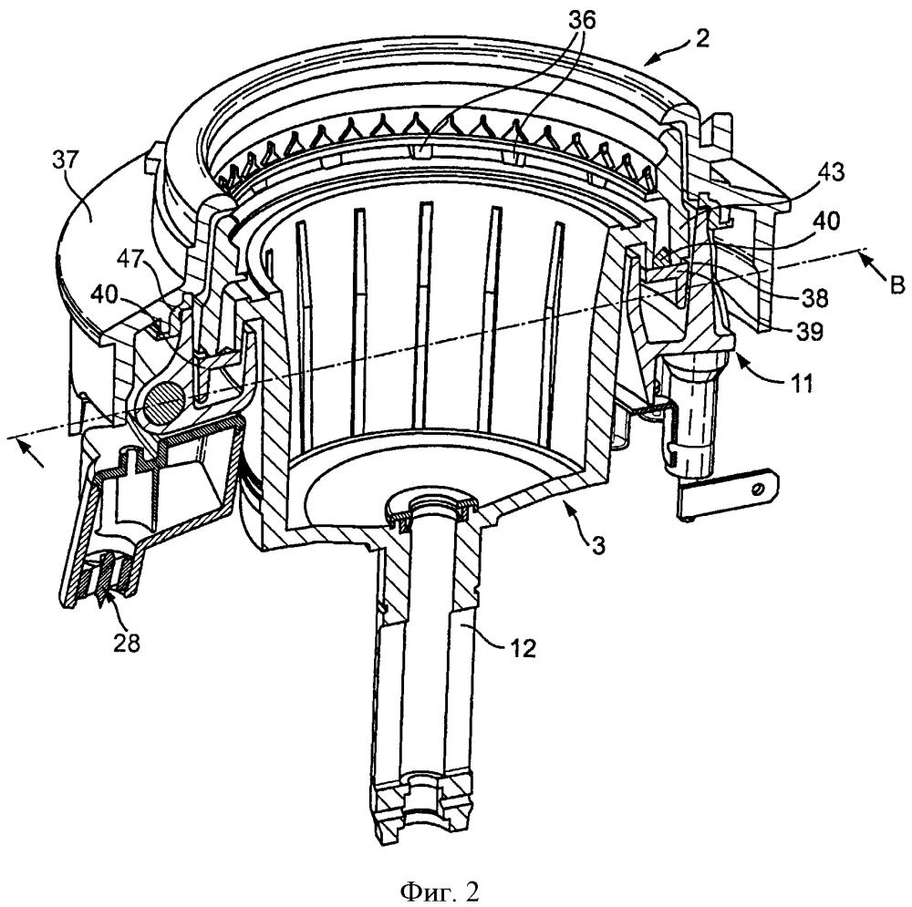 Центрифужная варочная машина для приготовления напитков с блоком коллектора потока