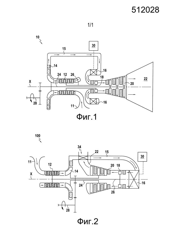 Двухвальная компоновка газотурбинного двигателя с компрессором высокого давления, связанным с турбиной низкого давления