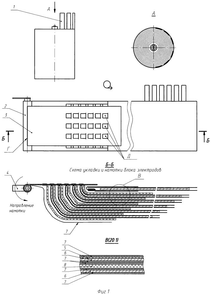 Электродный блок ампульного химического источника тока и способ его сборки