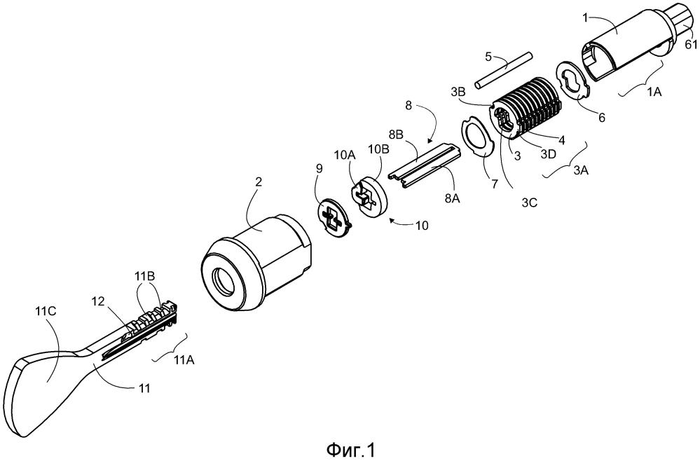 Комбинация дискового барабанного цилиндрового замка и ключа