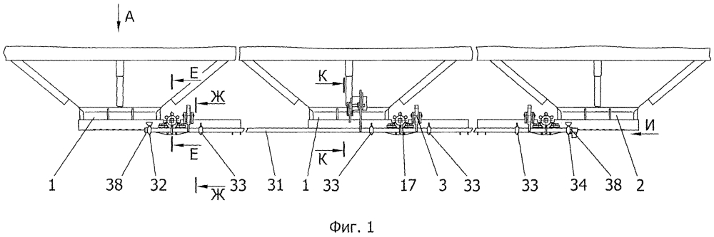 Шиберный механизм разгрузки вагона-хоппера
