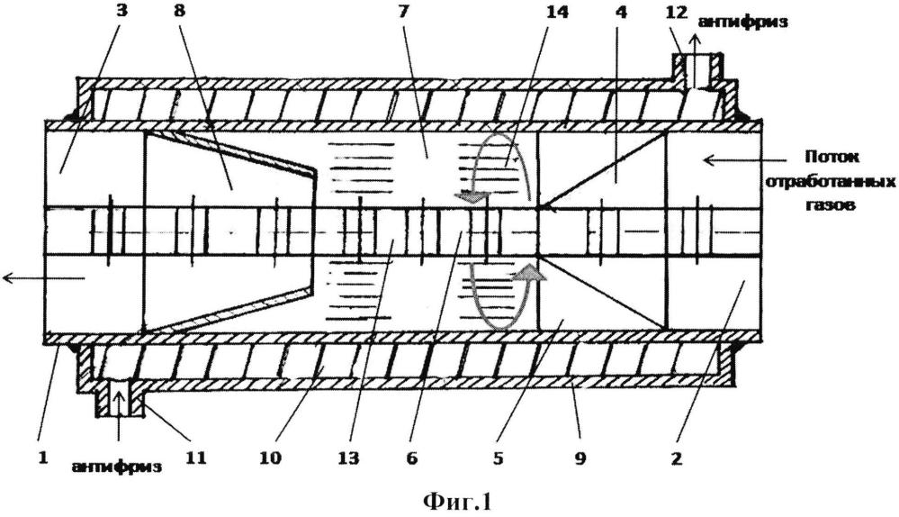 Устройство в системе выпуска отработавших газов двигателя внутреннего сгорания (турбоконвертер)