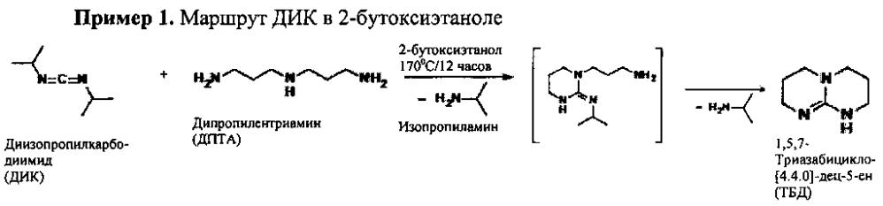 Способы получения 1,5,7-триазабицикло[4.4.0]-дец-5-eha по реакции дизамещённого карбодиимида и дипропилентриамина