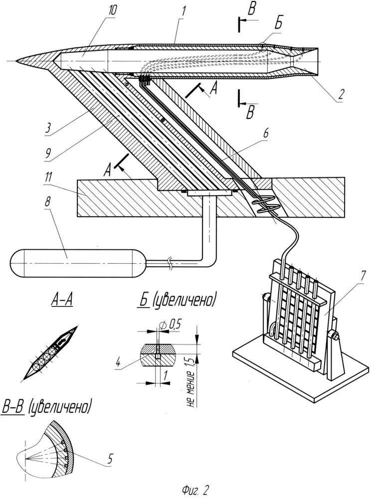 Аэродинамическая модель летательного аппарата для исследования распределения давления по поверхности в аэродинамических испытаниях с имитацией струй кормового реактивного двигателя