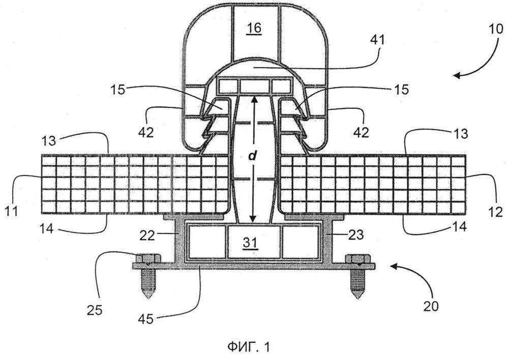 Узел для крепления двух смежных панелей к структуре, чтобы позволить тепловое расширение и сжатие