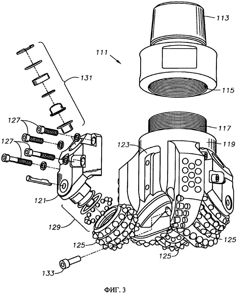 Система и способ фиксации лапы на гибридных долотах