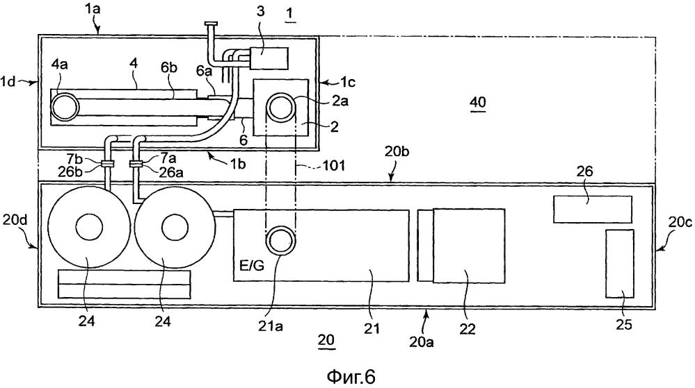 Двигатель-генераторное устройство типа блок-контейнера с функцией соединения труб