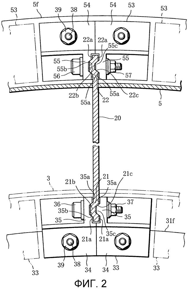 Присоединяющая лопатку конструкция и реактивный двигатель, содержащий данную конструкцию