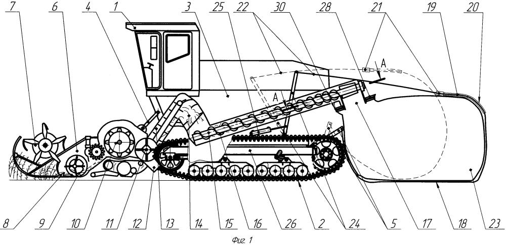 Машина полевая гусеничная для заготовки и сбора зернового вороха