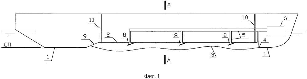 Водоизмещающее судно с воздушной каверной на днище с дифферентно-креновой системой