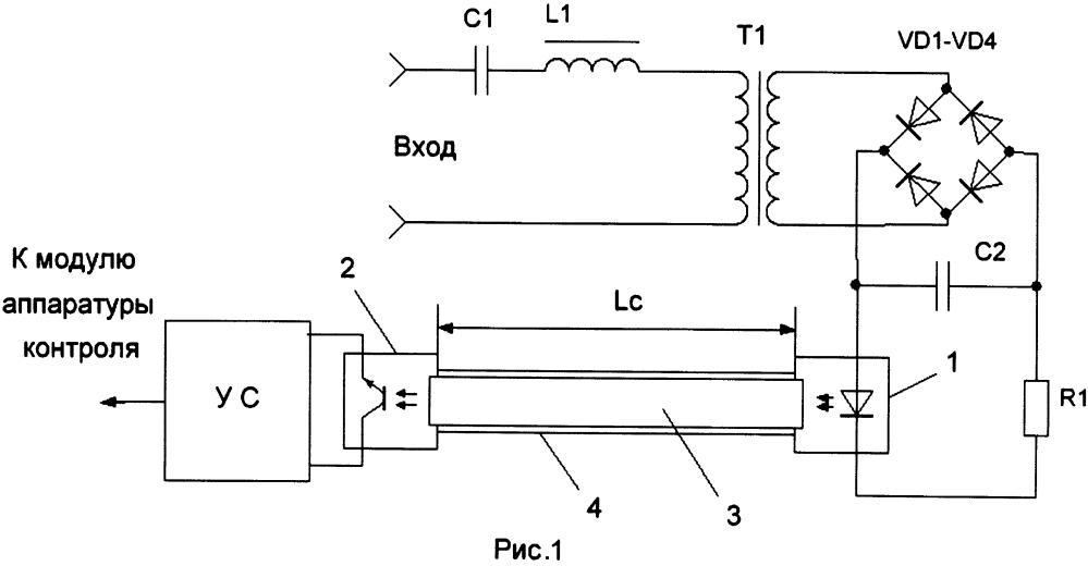 Приёмник сигналов генератора рельсовой цепи наложения со световодной гальванической развязкой