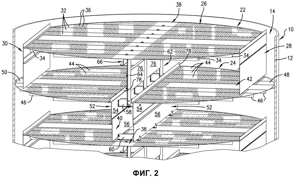 Поперечно-точная тарелка и опорная система для использования в массообменной колонне