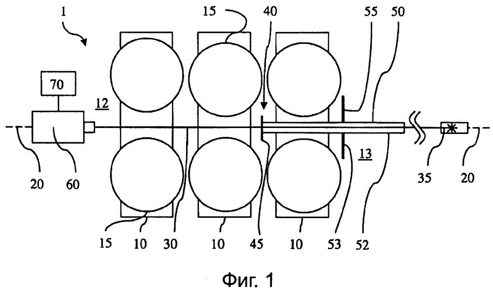 Прокатный стан, а также устройство и способ определения прокатного или направляющего калибра прокатных или направляющих клетей в многоклетевом прокатном стане