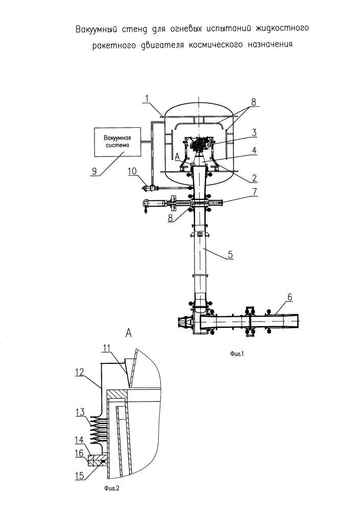 Вакуумный стенд для огневых испытаний жидкостного ракетного двигателя космического назначения