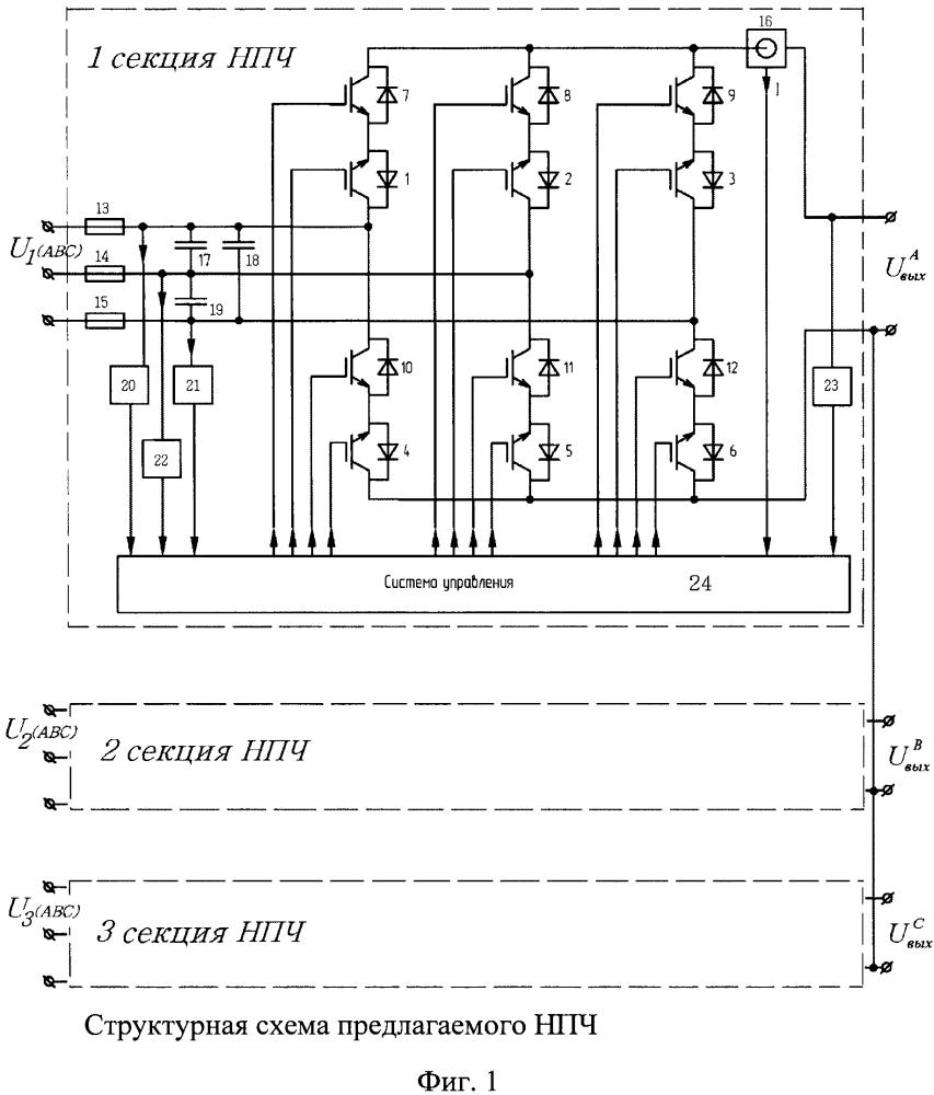 Непосредственный преобразователь частоты с источниками входного напряжения, модулированными по амплитуде по синусоидальному закону