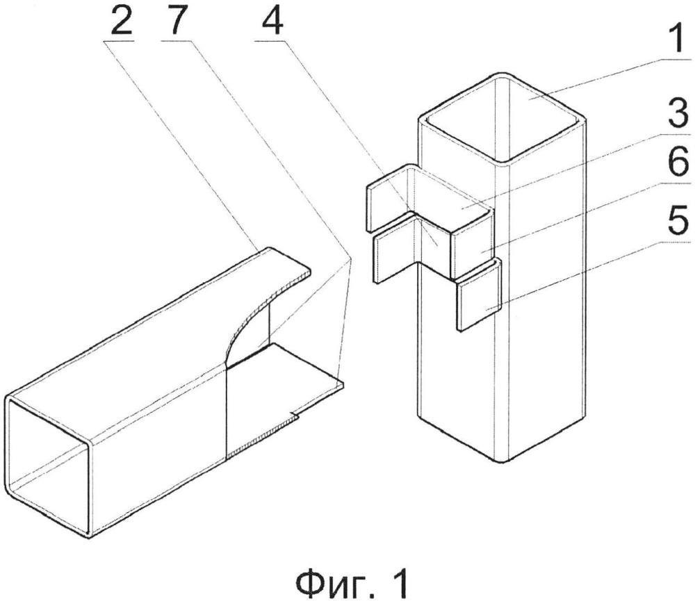 Быстроразъемное соединение стержней из труб прямоугольного сечения
