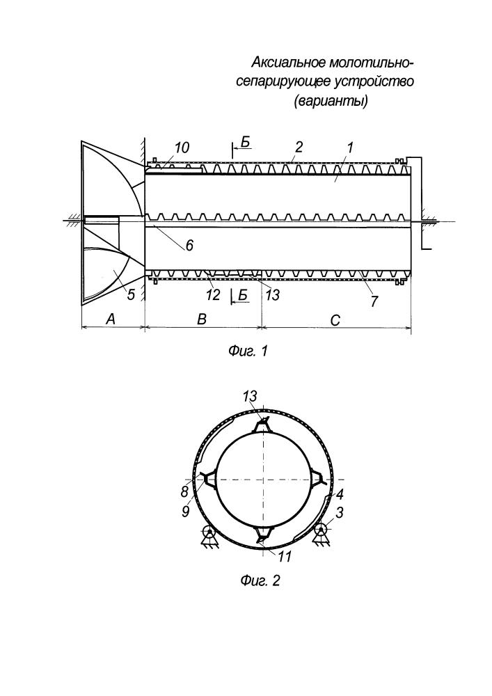 Аксиальное молотильно-сепарирующее устройство (варианты)