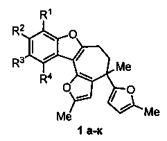 Способ получения производных 5, 6-дигидро-4н-фуро[2, 3:3, 4]циклогепта[1, 2-b]бензофурана