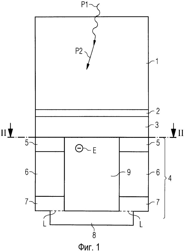 Детектор излучения, в частности электромагнитного излучения большой мощности