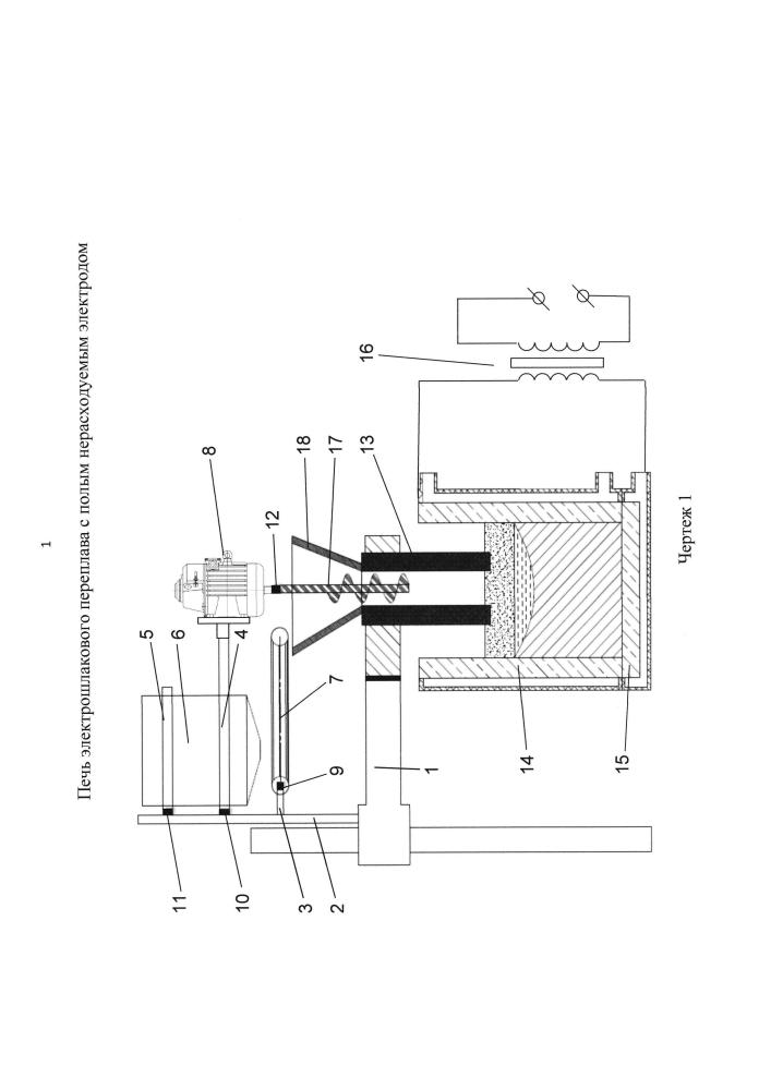 Печь электрошлакового переплава с полым нерасходуемым электродом