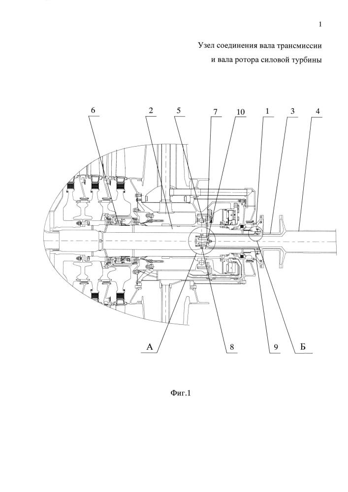 Узел соединения вала трансмиссии и вала ротора силовой турбины